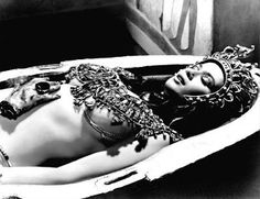 """Valerie Leon being """"Cleopatra"""" (Margaret Fuchs/Queen Terathe) in the 1971 film, 'Blood from the Mummy's Tomb' http://BeingCleopatra.blogspot.com"""