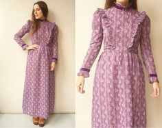 DOLLYROCKERS By Sambo 1970's Vintage Purple Psych Gypsy Victoriana Style Bohemian Maxi Dress Size XS Velvet Ribbon, Bohemian Style, 1970s, Gypsy, Purple, How To Make, Cotton, Psych, Clothes