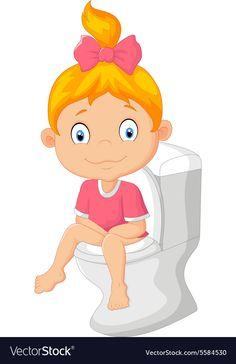 Little girl cartoon sitting on the toilet , Preschool Labels, Body Preschool, Preschool Math, Little Girl Cartoon, Little Girls, Toddler Clock, Daily Routine Kids, Potty Training Girls, Kids Potty