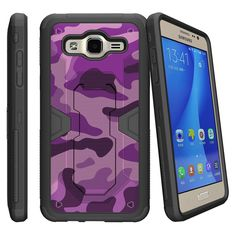 Samsung Galaxy On5 G550, MAX DEFENSE Heavy Duty Clip Case with Kickstand - Purple Camouflage