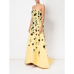 Oscar de la Renta sequinned flowers strapless gown ($13,897) ❤ liked on Polyvore featuring dresses, gowns, feather dresses, flower dress, strapless dresses, silk dress and sequin ball gown