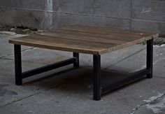Square Wood and Steel Coffee Table by EvansWoodshopDesign on Etsy https://www.etsy.com/listing/285694591/square-wood-and-steel-coffee-table