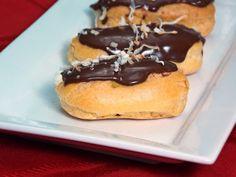 Coconut Cream Eclairs (using cream recipe found on AllRecipes and Pastry recipe found in Betty Crocker cookbook)