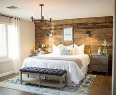 Rustic bedroom ideas diy accent wall ideas surely wish to try this at home bedroom bedroom farmhouse master bedroom bedroom decor Small Master Bedroom, Farmhouse Master Bedroom, Bedroom Rustic, Master Bedrooms, Girls Bedroom, Wooden Wall Bedroom, Bedroom Ideas For Couples Master, Rustic Room, Bedroom Brown