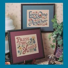 """Signs of Love #1 Plastic Canvas ePattern - (Leisure Arts Leaflet #1574) These custom-framed designs would make delightful additions to your home decor. Our two thoughtful sayings, """"Bless This House"""" and """"Love One Another"""" are stitched on 8"""" x 11"""" sheets of 14 mesh ivory plastic canvas using six strands of embroidery floss unless otherwise indicated. Number of Designs: 2 framed designs Approximate Design Size: 8""""w x 6""""h each"""