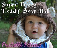 Make your own super soft and fuzzy hat with this printable teddy bear baby hat pattern!