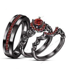 0.80 CT Round Garnet Fishtail Setting 14k Black Gold Fn Engagement Trio Ring Set #aonejewels