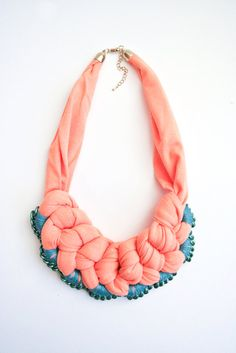 woven necklace with chain detail