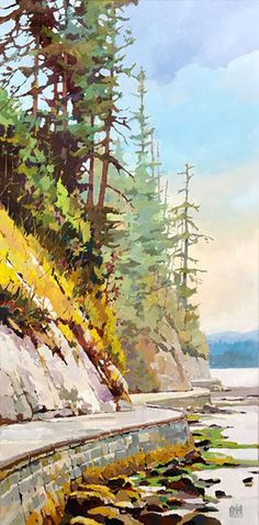 View and buy this Acrylic on Canvas Painting by Randy Hayashi Watercolor Landscape, Landscape Art, Landscape Paintings, Watercolor Art, Landscapes, Tree Paintings, Indian Paintings, Abstract Paintings, Bachelor Of Fine Arts