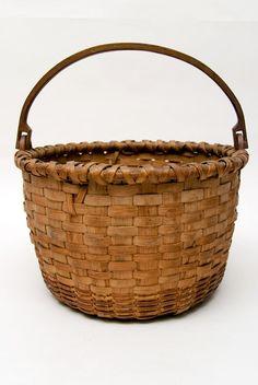Antique American Taconic Swing-Handled Basket. Circa 1850-1880, West Taghkanic, New York Origin