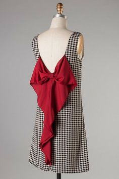 Houndstooth bow back dress