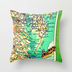 Map Pillow | EASTERN SEABOARD | Ocean City  Richmond Beach House | Decorative Throw Pillow Cover | Retro Map Print