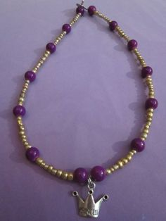 Gold/Purple Glass Bead Necklace with by BeadazzlingButterfly, $14.00