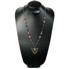 Collar de Moda con Turquesa Multicolor y Dije de Angelito