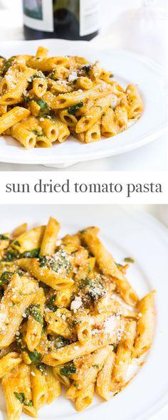 Sun Dried Tomato Pasta with Spinach and Sautéed Chicken. Recipe via ...