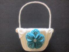 Flower Girl Basket Wedding Ivory Aqua Blue hydrangea flowr choose custom colors by ArtisanFeltStudio, $34.00
