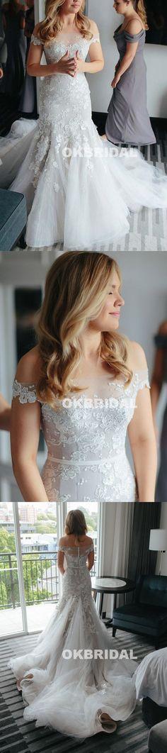 Long Off Shoulder Lace Wedding Dress, Vintage Tulle Mermaid Wedding Dress, KX823 #weddingdresses #okbridal