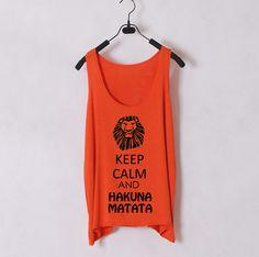 Keep Calm and Hakuna Matata - Women Tank Top - Orange - Sides Straight. $22.00, via Etsy.
