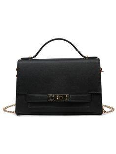 Bags by BORNTOWEAR. Contrast Embossed Faux Leahter Turnlock Strap Handbag