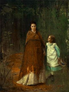 """Иван Николаевич Крамской (Ivan Kramskoy), """"In the Park"""", portrait of Sofia Nikolaevna and Sophia Ivanovna, wife and daughter of the artist.  Rather eerie, in a way I really like.  The mother looks as though she's seen a lot--and the daughter looks as though she's trying to see it all, too, there in her mother's face.  She seems to be checking on her mother, wondering, worrying.  Her expression.is fantastically rendered.  I want to know the stories here, too."""