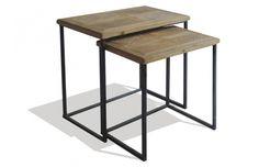 Lot de 2 tables basses gigognes métal et bois, effet vintage à souhait by Mose