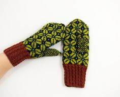Hand Knitted Mittens  Black Brown and Green by UnlimitedCraftworks