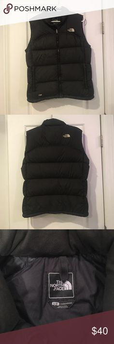 North Face Vest Gently used North Face goose down vest, size large, solid black. Great for Fall and Winter. The North Face Jackets & Coats Vests