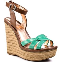 BCBGeneration Frankee - Mint Green ($90) ❤ liked on Polyvore featuring shoes, sandals, wedges, heels, green, ankle strap, espadrilles, platform, open toe and casual