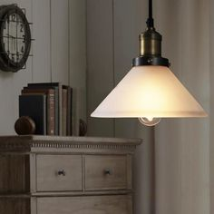 1-light LOFT Cone Shaped Frosted Glass Mini Pendant Lamp