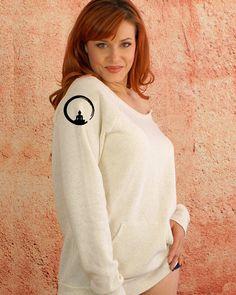 Enlightened Buddha Symbol - White Cream Black Sexy Feminine Girly Off Shoulder Long Sleeve Raw Edge Sweatshirt $39.50 USD #sweatshirts #goddessgeardesigns #yogagear  https://www.etsy.com/shop/GoddessGearDesigns