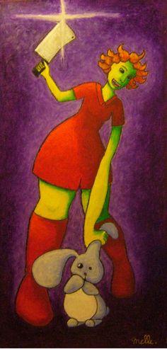 Alice se fâche - Pastels à l'huile sur toile, 40x801cm, Novembre 2011