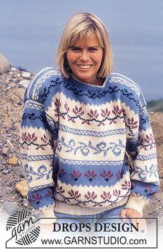 DROPS genser i Karisma med nordisk Kløver-Blad i bord. Gratis oppskrifter fra DROPS Design.