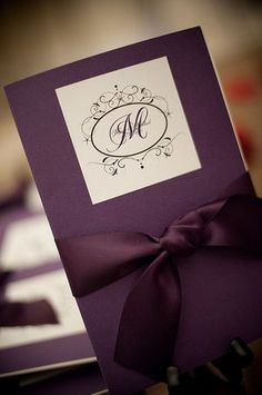 Purple Wedding Program. But would do something with more grey instead of so much purple...