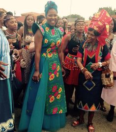 Radio personality Bob Mabena and girlfriend, Eucharist Hadebe, got married in a private wedding ceremony last Saturday.  Picture Credit : Twitter African Wedding Attire, African Attire, African Wear, African Dress, African Weddings, African Outfits, African Style, Tsonga Traditional Dresses, Traditional Wedding Dresses