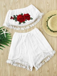 Two-piece Outfits by BORNTOWEAR. Embroidered Appliques Crochet Tassel Trim Top With Shorts