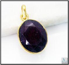 Indian Ruby Gems Stones 18.Kt Gold Plated Intricate Pendant L 1.5in Gppiru-3426 http://www.riyogems.com