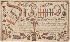 Virtue is the adornment of the youth (Die Tugend ist ein Schmuck der Jugend) Religious Text by Susanna Hübner,  Montgomery Co, PA  Creation Date: 9/10/1807