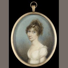 N.Freese, A Lady, wearing décolleté white dress with lace cap to the sleeve and pearl slide in her upswept hair