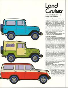 Toyota Land Cruiser Ad.  FJ40's and 55, #Toyota, #CarCredit, www.carcredittampa.com