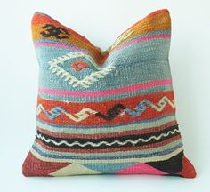 Vintage Turkish Kilim Pillow Cushion 16 X 16 by TurkishCraftsArts, $65.00