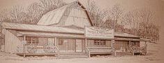 "Tex Terry's Longhorn Tavern formerly The Coxville Tavern and currently the Rock Run Café. As Drawn by Famed Indiana Artist Denzil Omer ""Salty"" Seamon"