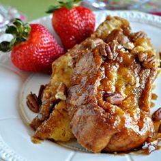 Overnight Pecan Praline French Toast Casserole with Fresh Strawberries