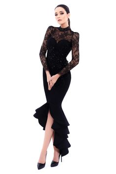 Tarik Ediz- MIRACLE Collection 2017 Fall/Winter Style #93318 Black Lace Evening Gown with Long Sleeves. Also available in Wine, Ivory, and Navy.