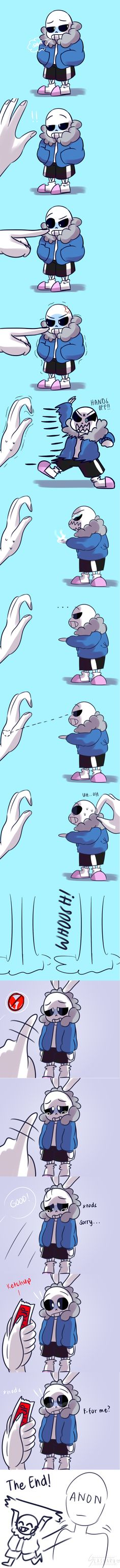 Sans vs. Mão por Slasharu>>> anon you're the one that pissed him off in the first place! Don't make him cry!