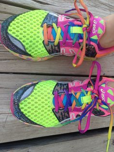 Rainbow laces are a must (: and I love the bright green!