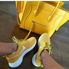 nike yellow running shoes for woman- yellow celine tote bag- Nike running shoes…
