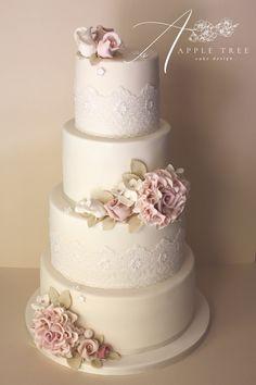 Apple Tree Cake Design - Wedding Cakes Essex - a portfolio and gallery of wedding cake designs and pictures. Burgundy Wedding Cake, Floral Wedding Cakes, White Wedding Cakes, Elegant Wedding Cakes, Wedding Cake Designs, Wedding Cake Toppers, Beautiful Wedding Cakes, Beautiful Cakes, Tree Cakes