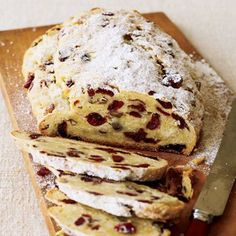 Holiday Bread ~ Christmas mornings are busy. Prepare breakfast the day before by baking this simple stollen, a quick version of the traditional sweet bread. Holiday Bread, Christmas Bread, Holiday Baking, Christmas Baking, German Christmas, Christmas Stollen Recipe, Breadmaker Bread Recipes, Bread Maker Recipes, Blueberry Bread Recipe