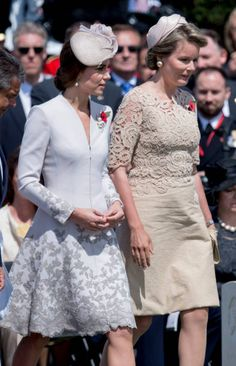 Catherine Duchess of Cambridge and Queen Mathilde of Belgium attend the commemorations at the Tyne Cot Commonwealth War Graves Cemetery on July 31...