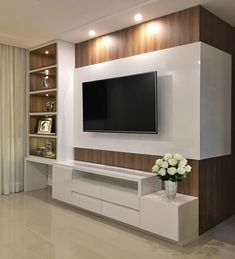 Living room tv wall decor tv shelf 19 new Ideas Tv Cabinet Design, Tv Wall Design, Tv Wanddekor, Living Room Tv Unit Designs, Tv Wall Unit Designs, Modern Tv Wall Units, Tv Wall Decor, Wall Tv, White Rooms